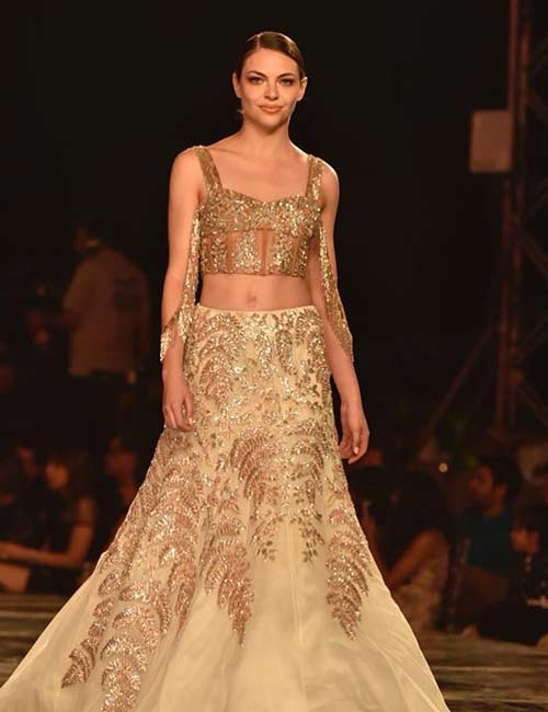 d1056806233263 How To Wear A Lehenga - Crop Top Style Blouse And Golden Tulle Lehenga Skirt