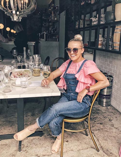 Overall Outfit Ideas - Denim Overalls With Pink Ruffle Top