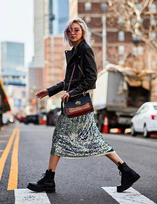 How To Wear Combat Boots - Sequin Skirt And Leather Jacket