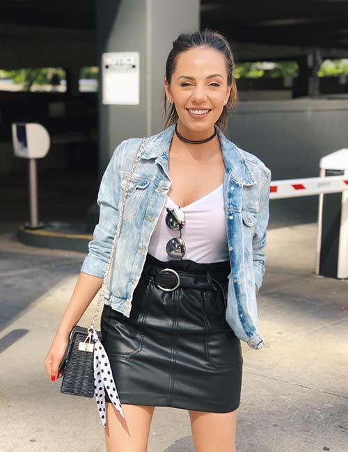 7. Black Leather Skirt And Denim Jacket