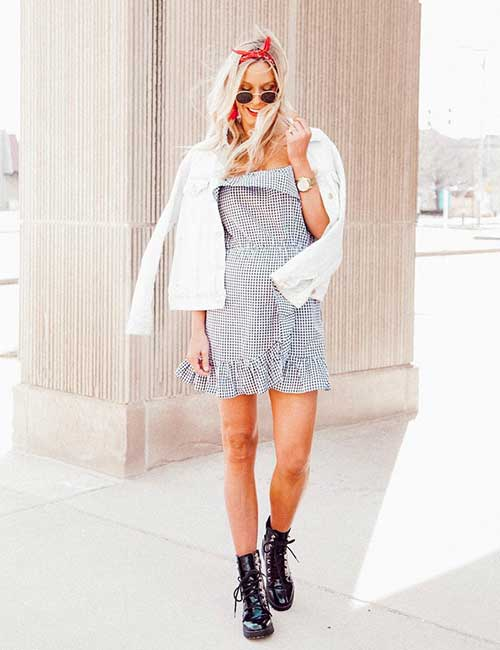 How To Wear Combat Boots - Checkered Dress And Combat Boots