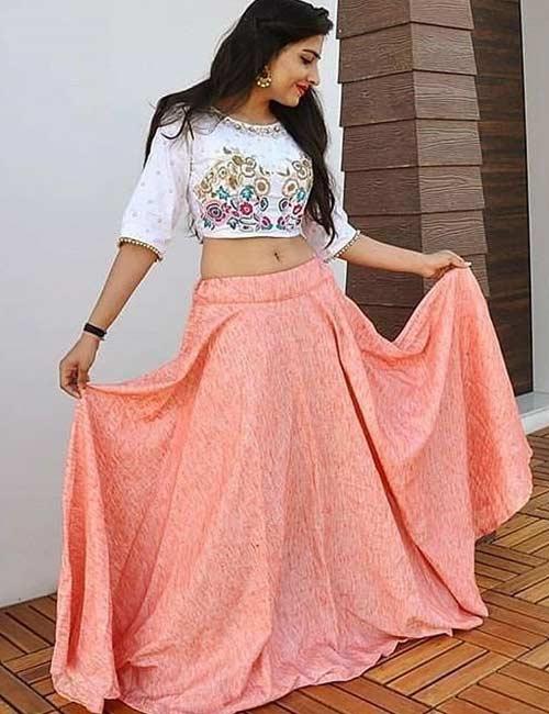 How To Wear A Lehenga - Long Skirt Lehenga Bottom And Contrast Blouse