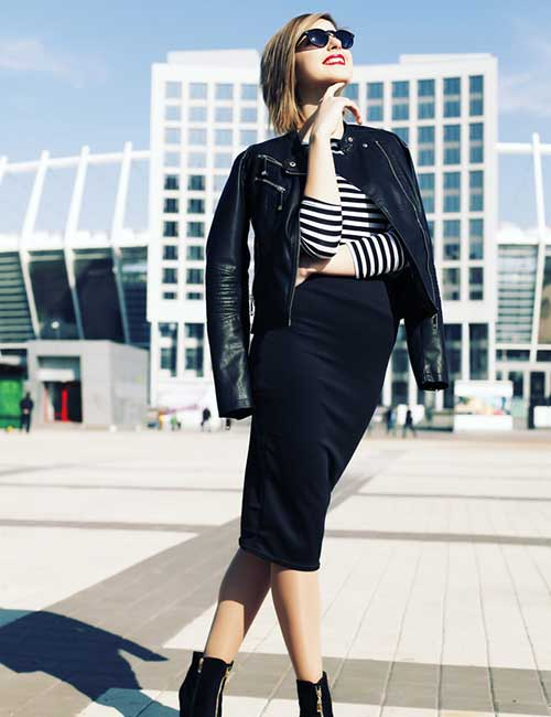 8. Pencil Skirt And Leather Jacket