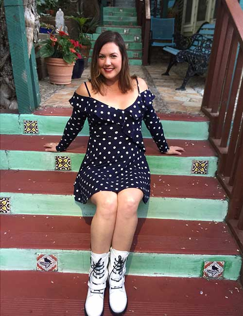 How To Wear Combat Boots - Polka Dot Dress And White Boots