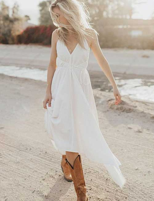 Best Outfits With Cowboy Boots - Asymmetrical Dress With Cowboy Boots