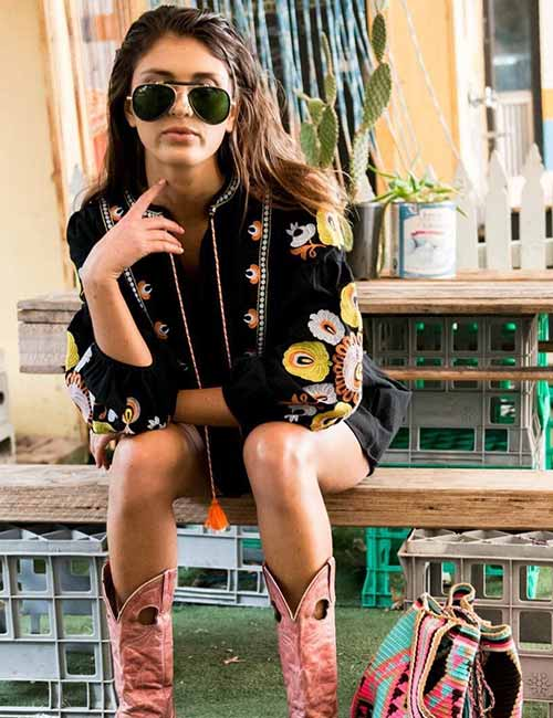 Best Outfits With Cowboy Boots - Boho Style One Piece And Pink Cowboy Boots