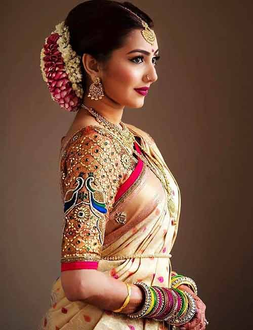 Best Stonework Blouse Designs - Gold Bridal Blouse With Heavy Stone Work