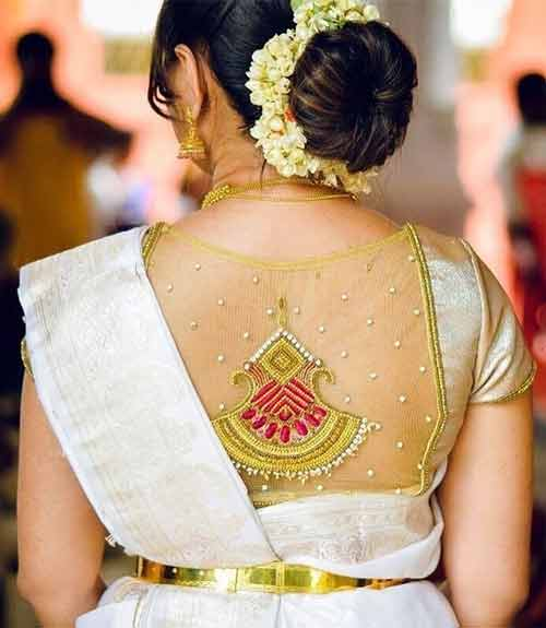 Best Stonework Blouse Designs - Gold Sheer Blouse With Stone Work