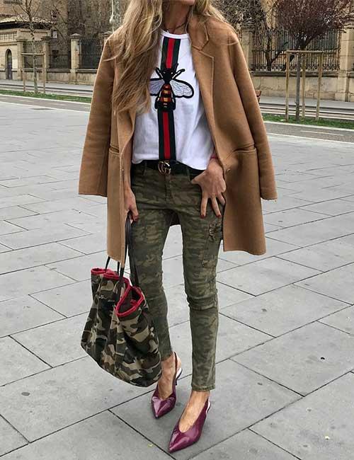 Green Camo Pants And Informal Blazer