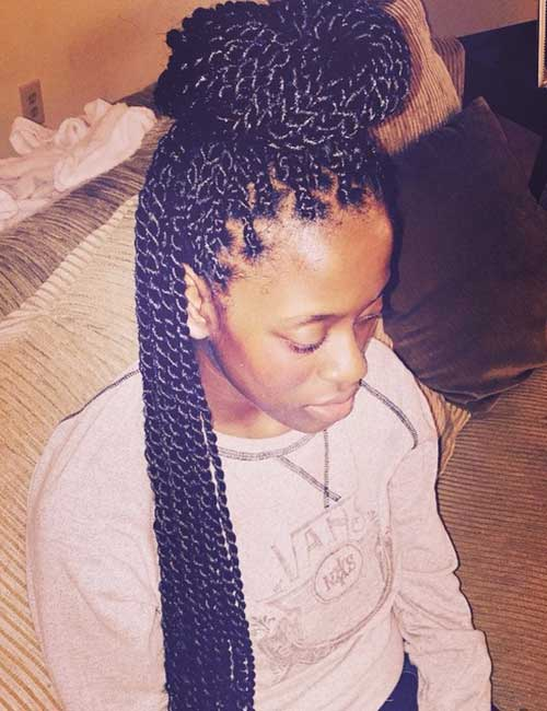 Half Top-knot Senegalese Twists