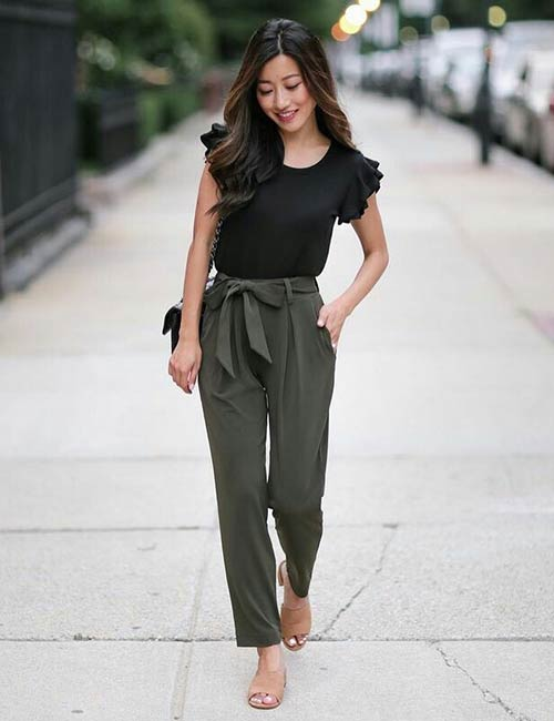 High Waisted Green Pants And Ruffled Top