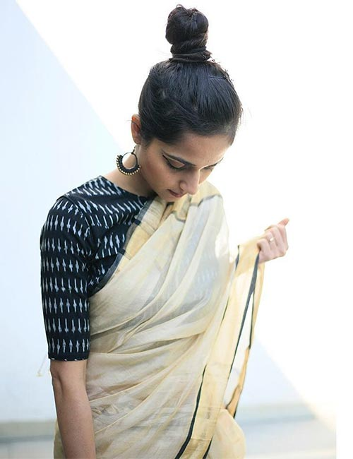 Kerala Saree with Printed Blouse