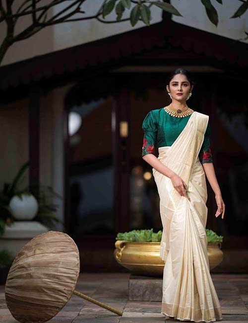 Best Kerala Saree Blouse Designs - Kerala Saree With Green Raw Silk Blouse