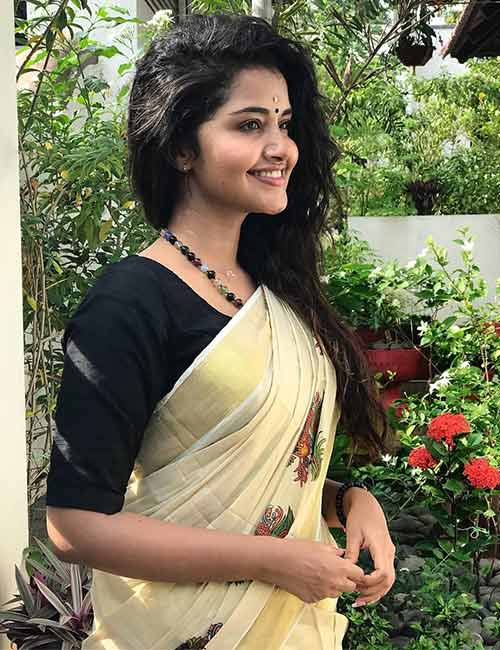 Kerala Sarai with a plain black blouse