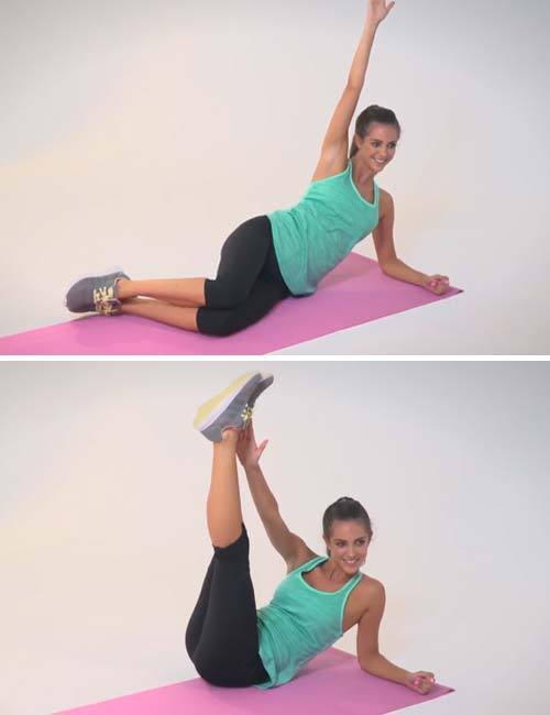 Get Rid Of Love Handles - Oblique Crunch With Long Legs