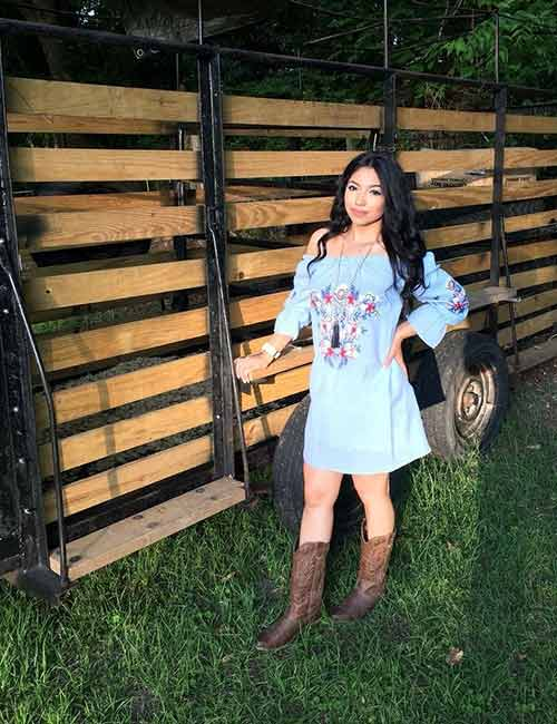 Best Outfits With Cowboy Boots - Off-Shoulder Dress With Cowboy Boots