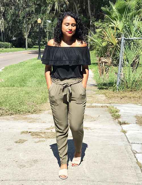 What To Wear With Olive Green Pants - Off shoulder top