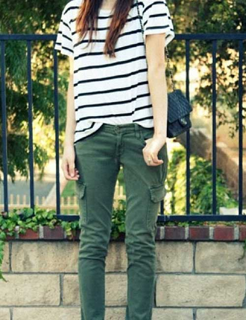 Olive Green Denim With Stripes T-Shirt