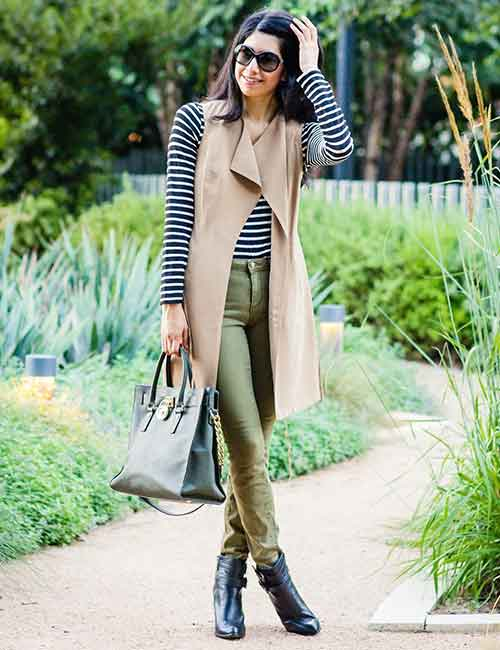 Olive Green Jeans And Camel Trench