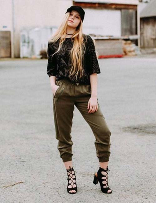 What To Wear With Olive Green Pants - Olive Green Joggers And A Lace Top