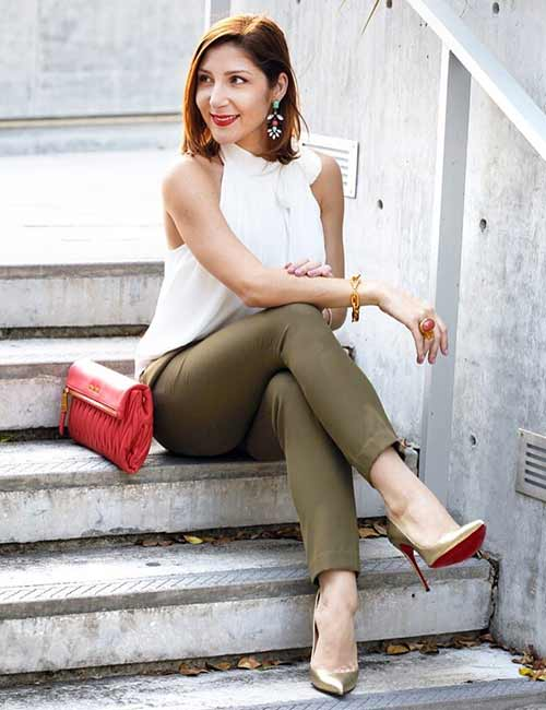 What To Wear With Olive Green Pants - Olive Green Pencil Pants