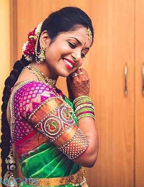 Best Stonework Blouse Designs - Pink Pattu Blouse With Peacock Stone Work