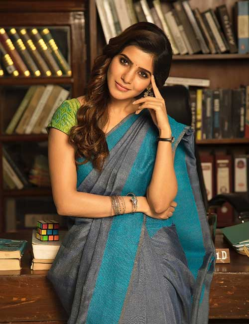 Best Photos Of Samantha In A Saree - Samantha In A Chanderi Saree