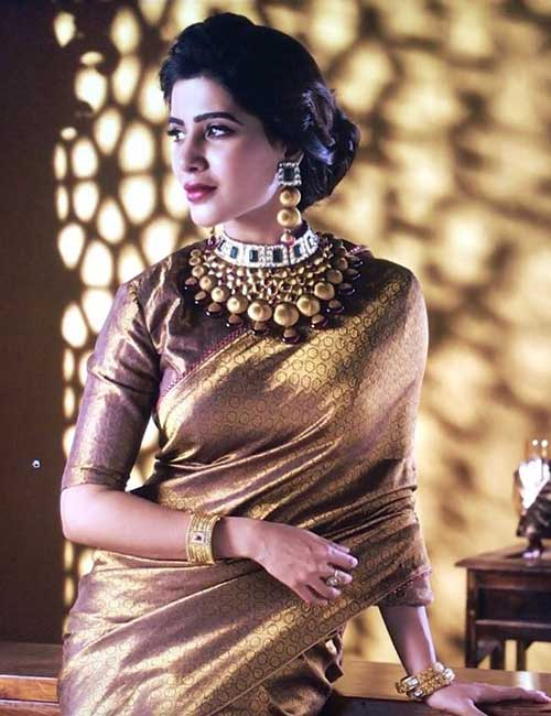 Best Photos Of Samantha In A Saree - Samantha In A Golden Pattu Saree