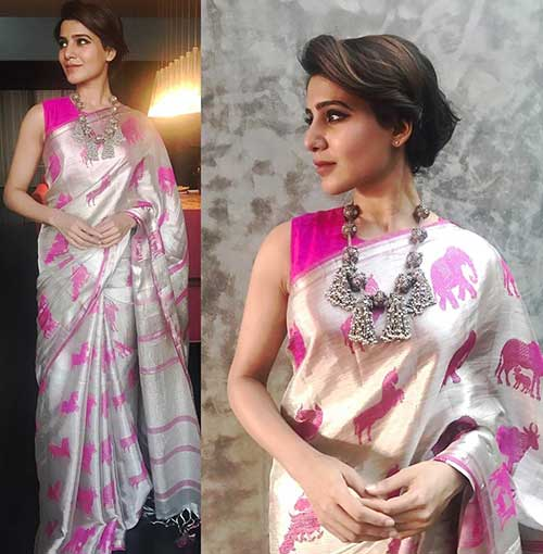 Best Photos Of Samantha In A Saree - Samantha In Handloom Saree