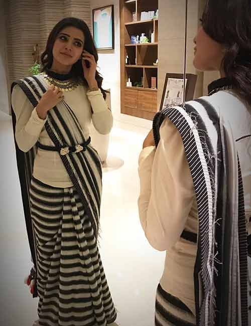 Best Photos Of Samantha In A Saree - Samantha In White And Black Saree