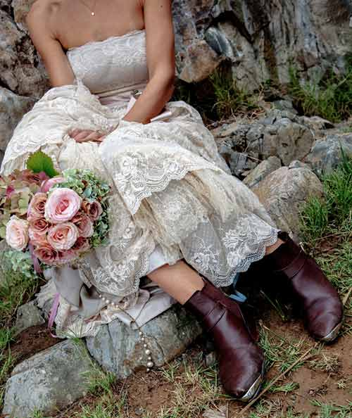 Best Outfits With Cowboy Boots - Strapless Lace Dress And Cowboy Boots