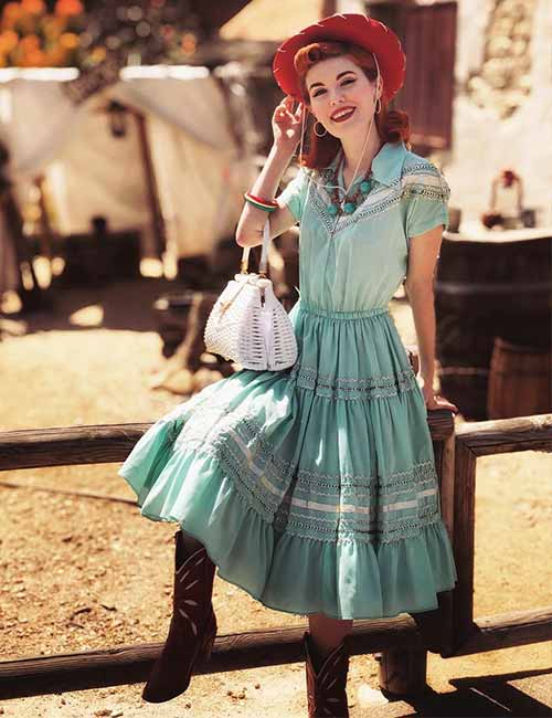 Best Outfits With Cowboy Boots - Vintage One Piece With Cowboy Boots
