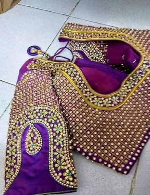 Best Stonework Blouse Designs - Violet Full Stonework Blouse With Vanki Motifs