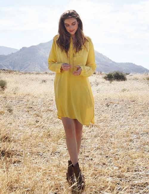 Best Outfits With Cowboy Boots - Yellow Dress And Cowboy Boots