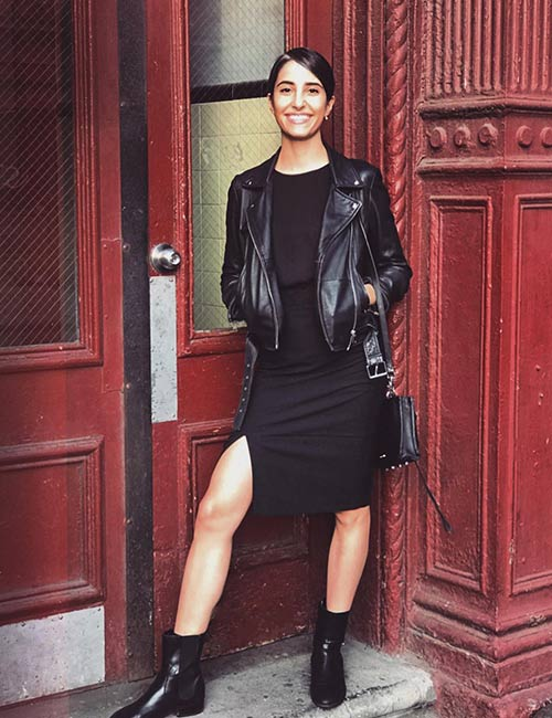 10. Black Slip Dress And Leather Jacket