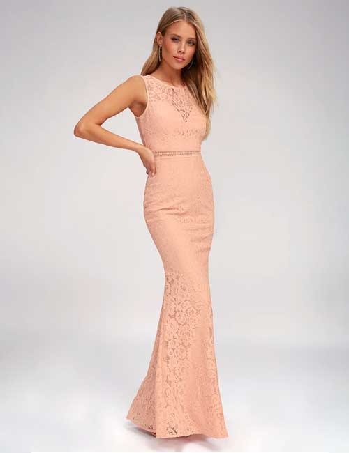 10. Pastel Lace Formal Dress For A Fall Wedding