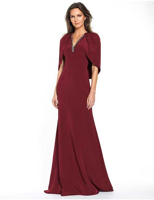 11. Magenta Gown With Flap Sleeves And Embellishments