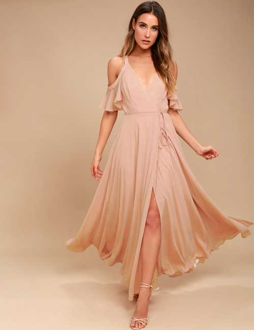 15. Blush Pink Cold Shoulder Maxi Dress For A Beach Wedding