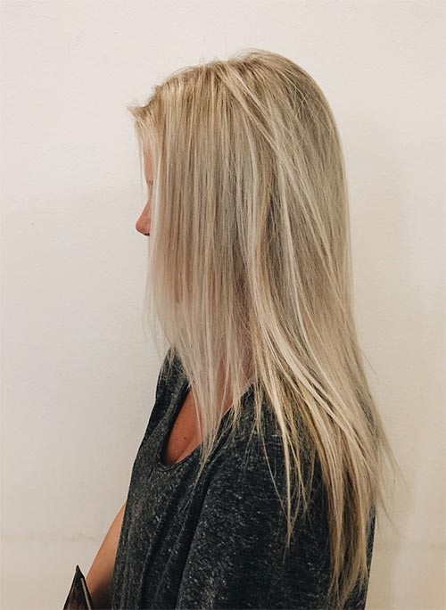 2. Champagne Dirty Blonde With Highlights
