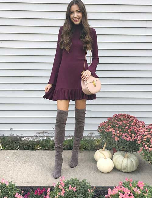 4. Burgundy Short Dress And OTK Boots For Outdoor Fall Wedding