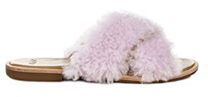 4. UGG Cross Strap Fleece Slippers
