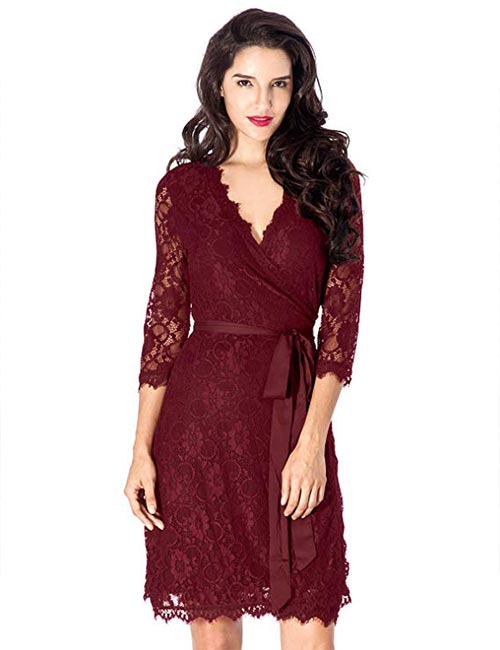 5. Magenta Wrap Style Cocktail Lace Dress For Fall Wedding