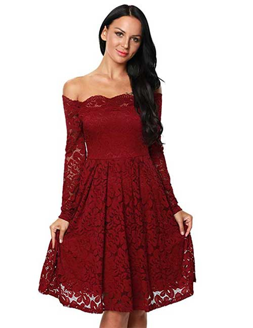7. Red Off Shoulder Lace Dress