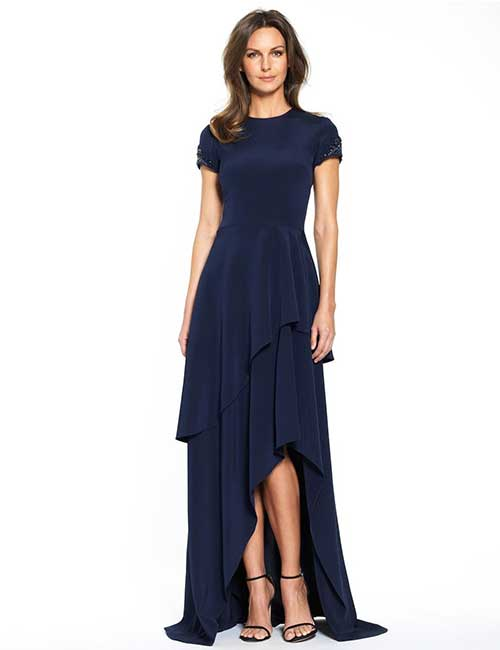 9. Royal Blue Crepe Dress For A Fall Beach Wedding