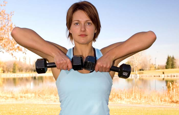 Bringing Up Dumbbells Or Barbells To Your Chin