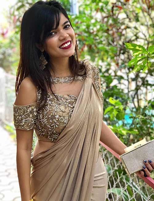 Golden Cold Shoulder Blouse With A Designer Saree