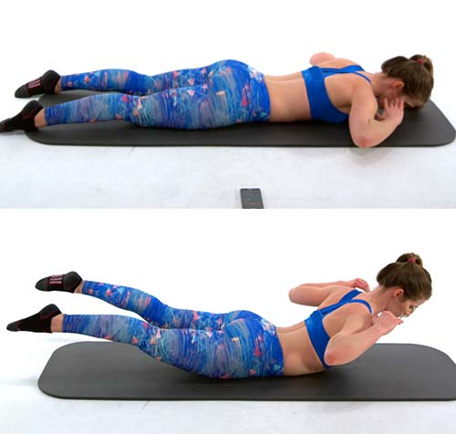 Youtube </a> </p> </div> <p>  <strong> Objective </strong> &#8211; Hunt, Chest, Glutte and Abs </p> <h5>  Bend your elbows and put your hands on the shoulder mat. Keep your legs elongated and your toes pointed out. This is the starting position. </li> <li>  Raise your head, your chest and your thighs from the floor. </li> <li>  Save for a moment and then lower your body to the starting position. </li> </ol> <h5>  Sets and repeats </h5> <p>  3 series of 5 reps </p> <h3>  8. </p> <h5>  [196590044] <a href=