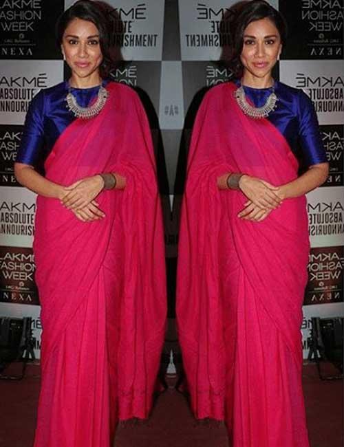 3dd019981b Plain Saree With Designer Blouse Ideas - Pink Plain Saree With Designer  Blouse