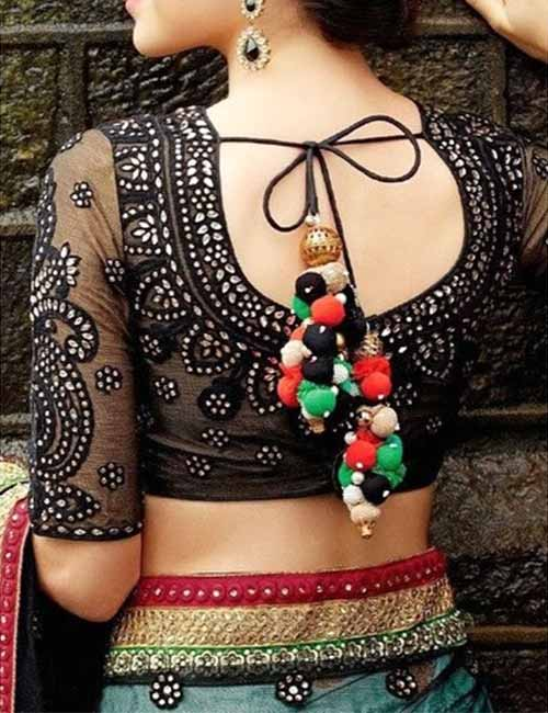 Plain Chiffon Saree And Black Net Blouse