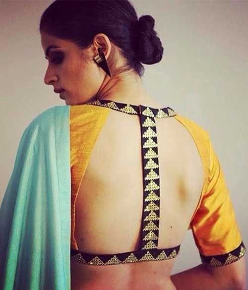Plain Green Saree With Gold Backless Blouse